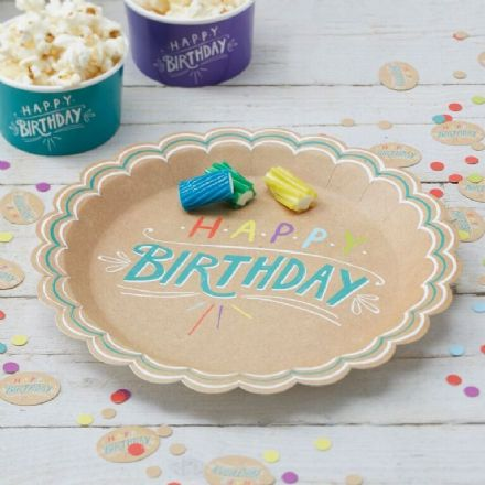 "Kraft Party -  ""Happy Birthday"" paper plates - pack of 8"